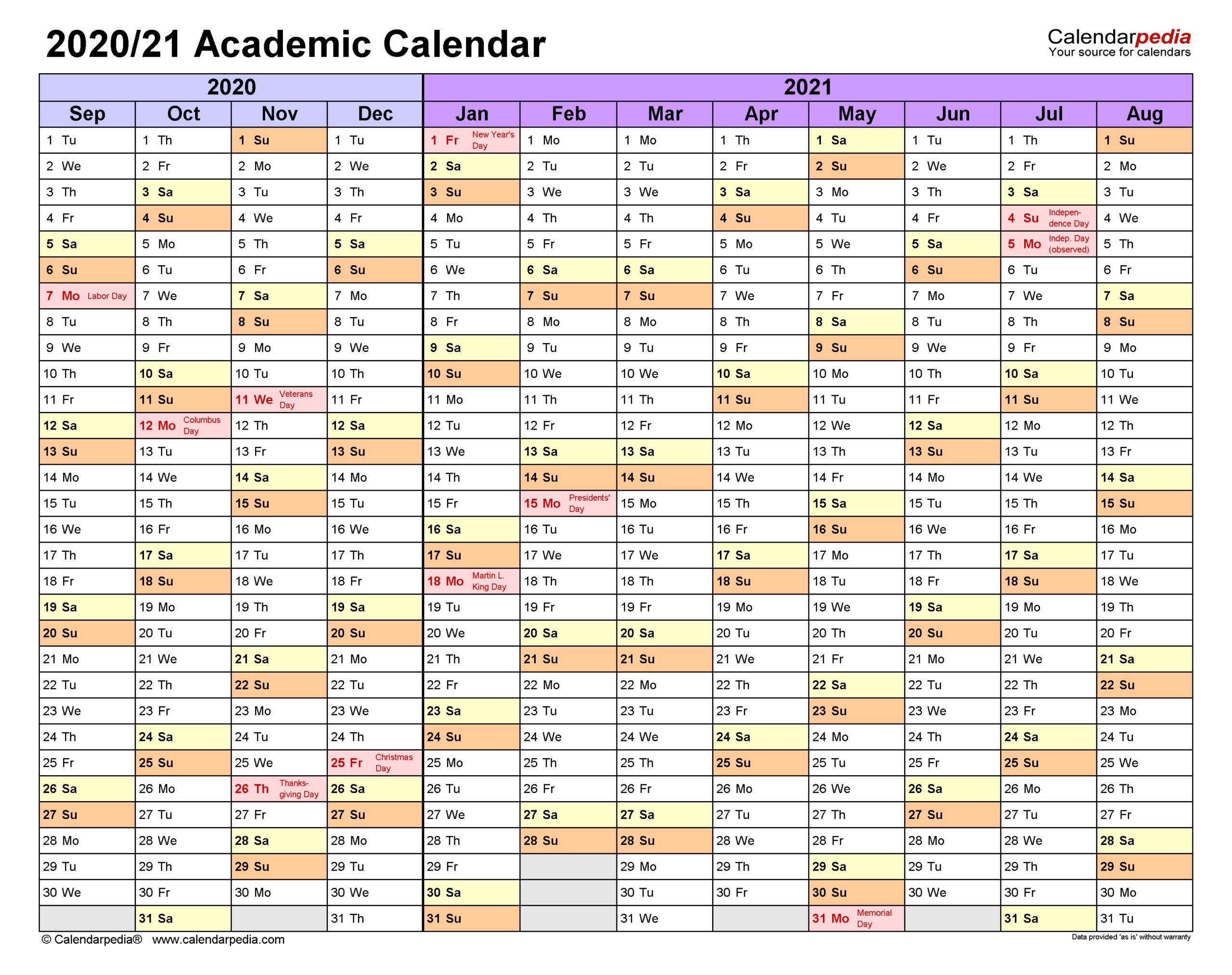 Academic Calendars 20202021  Free Printable Pdf Templates regarding Free Printable Calendar 4 Months Per Page