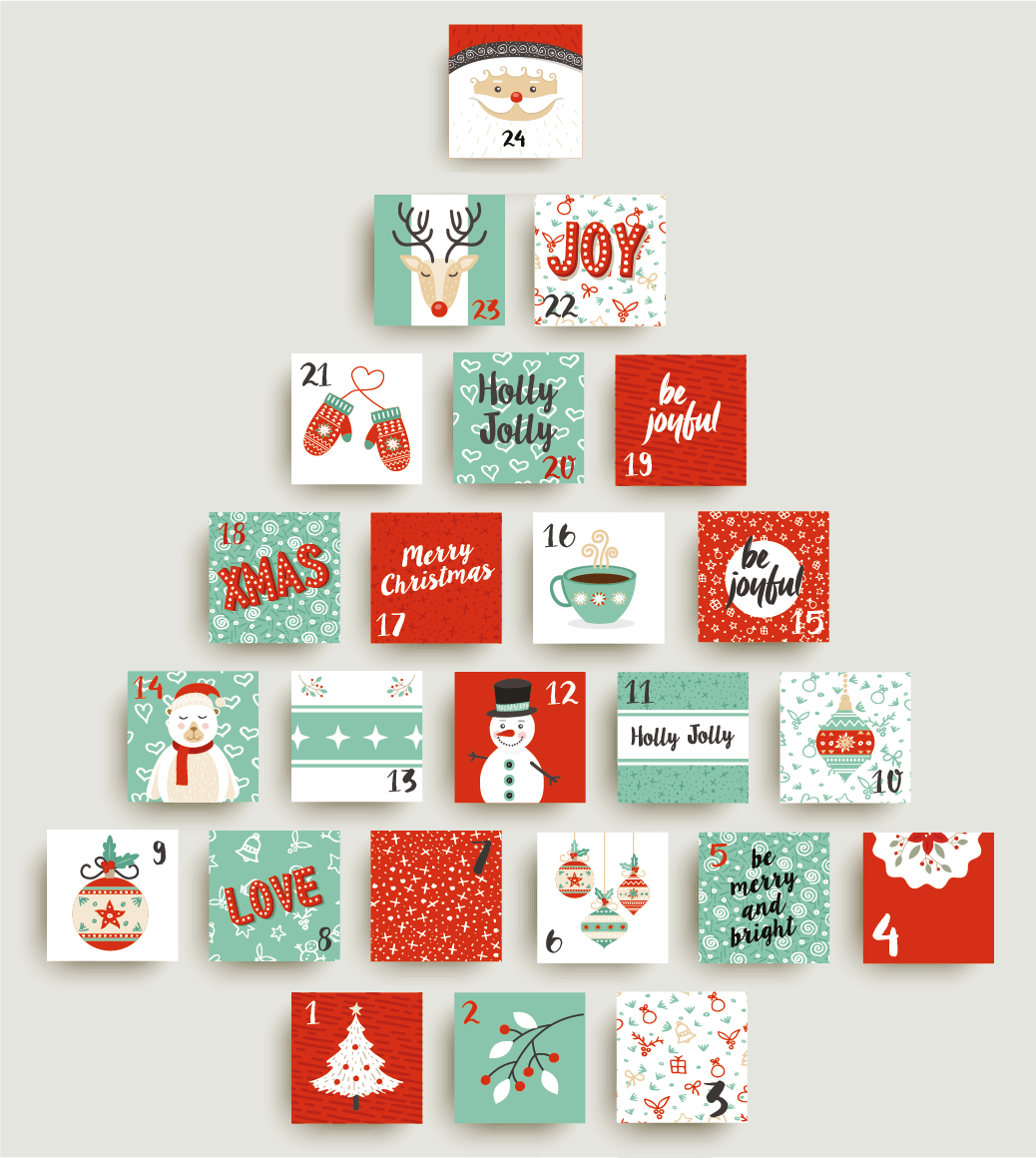 Advent Calendar Stickers  Santa throughout Holiday Stickers For Calendars