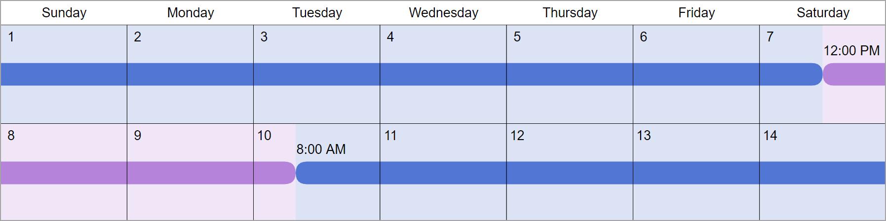 Alternating Weekends Visitation Schedules: 5 Common Examples regarding Monday Through Saturday Calendar
