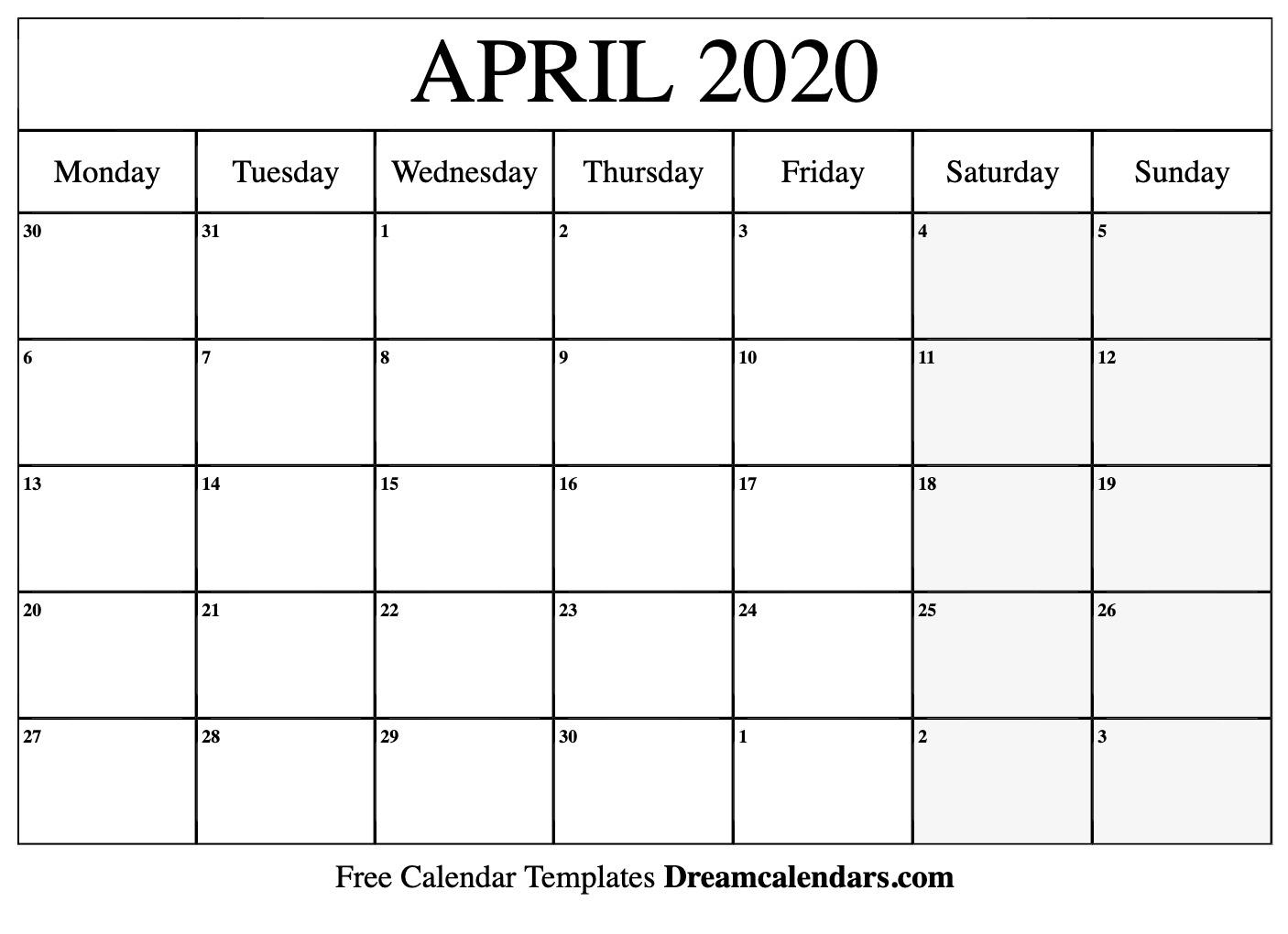 April 2020 Calendar | Free Blank Printable Templates intended for Free Printable Calendar Monday Through Friday
