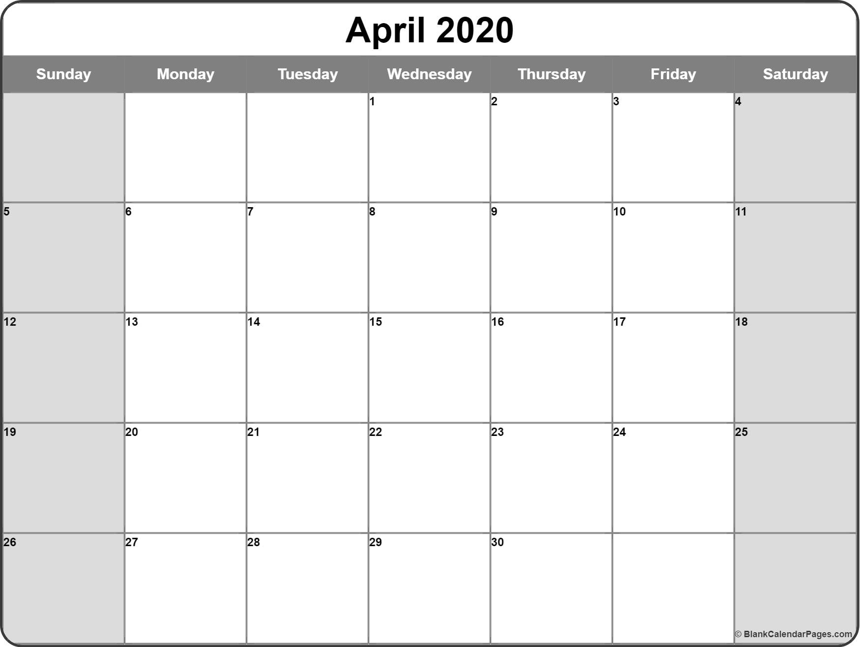 April 2020 Calendar | Free Printable Monthly Calendars throughout Free Printable 5 Day Monthly Calendar