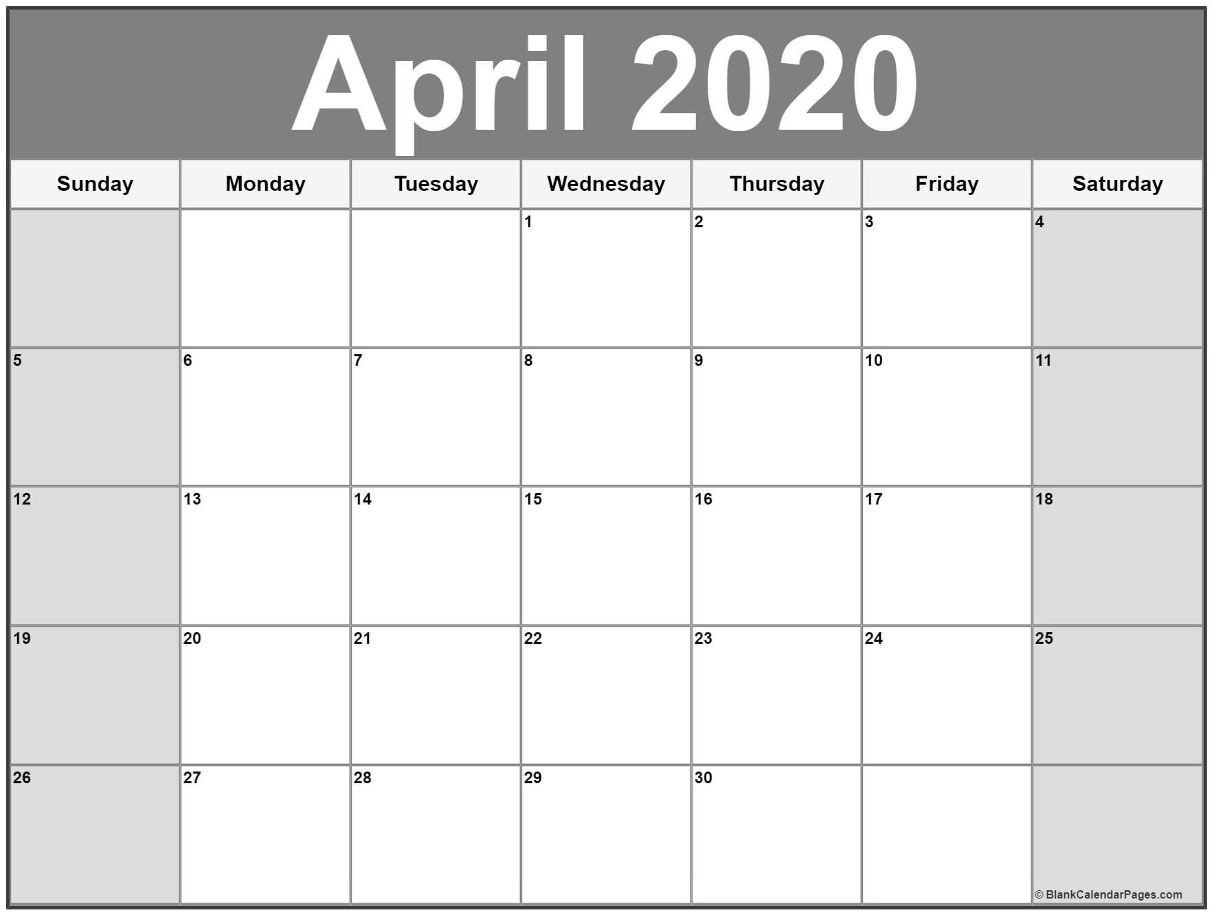 April 2020 Calendar | Free Printable Monthly Calendars within Free Printable 5 Day Monthly Calendar