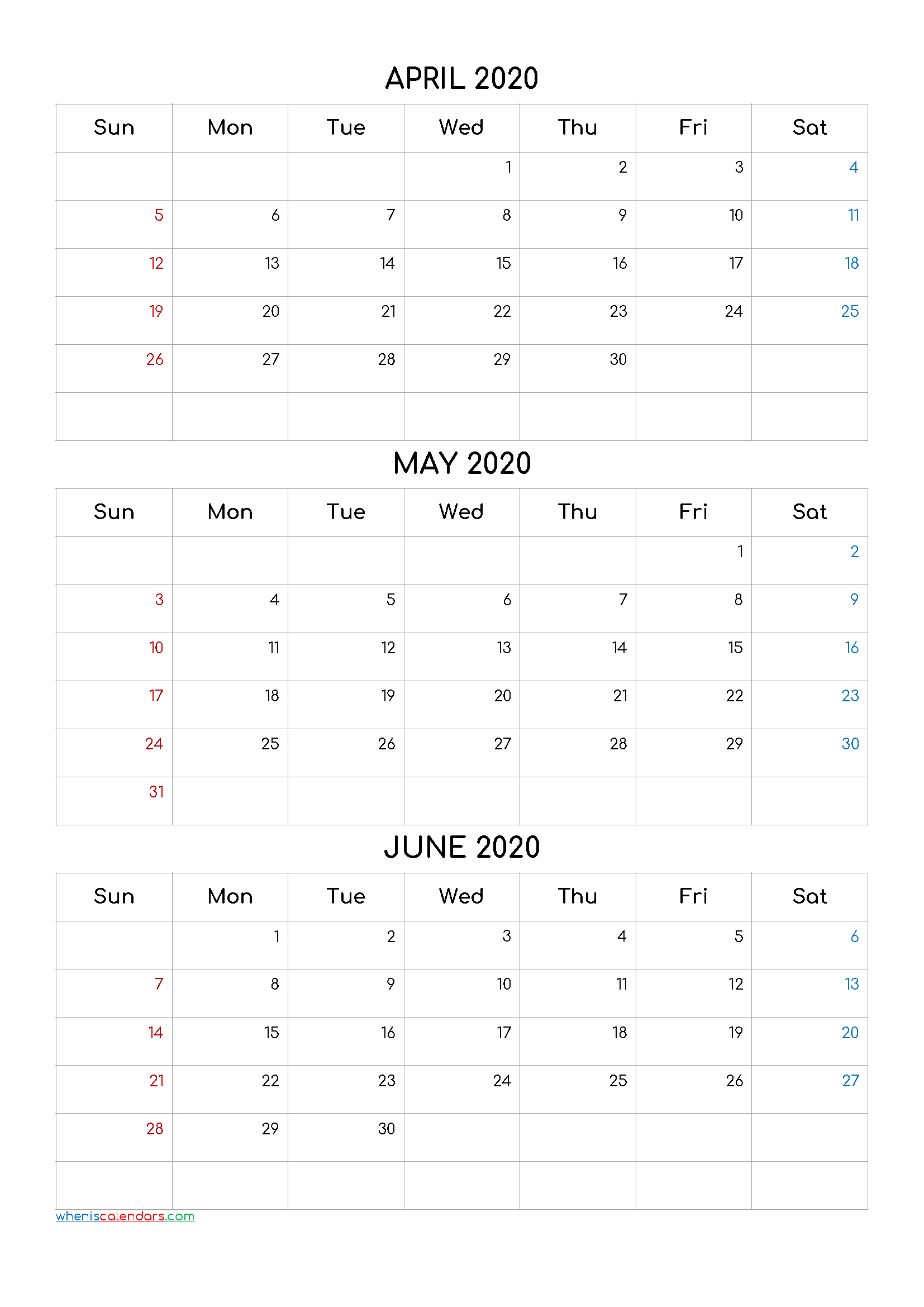 April May June 2020 Three Month Calendar Printable20Cf4 with 3 Month Calendar Template