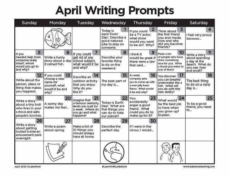 April Writing Prompts | Journal Prompts | Lakeshore® In with regard to Lakeshore Learning Writing Prompts