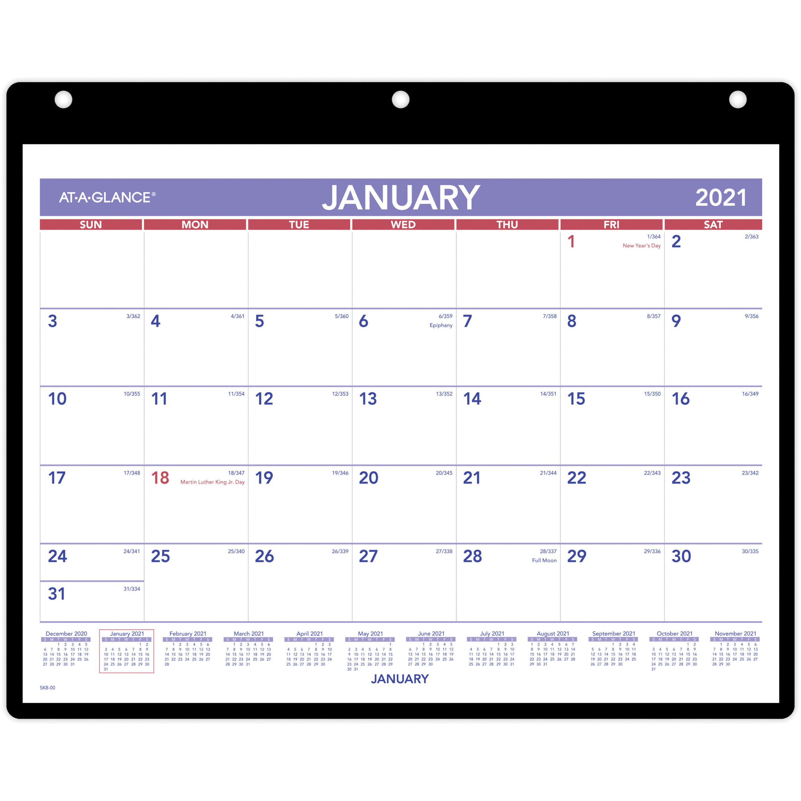 Ataglance Monthly Deskwall Calendar With Poly Holder  Julian Dates   Monthly  1 Year  January 2021 Till December 2021  1 Month Single Page with regard to At A Glance Wall Calendar Holder