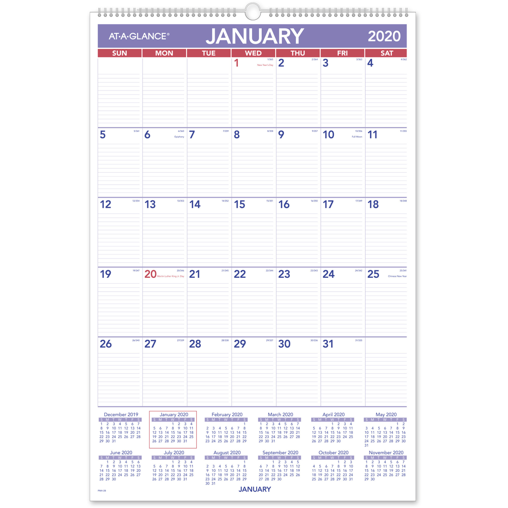 "Ataglance Recycled Monthly Wall Calendar  Julian Dates  Monthly  1  Year  January 2021 Till December 2021  1 Month Single Page Layout  20"" X throughout At A Glance Wall Calendar Holder"