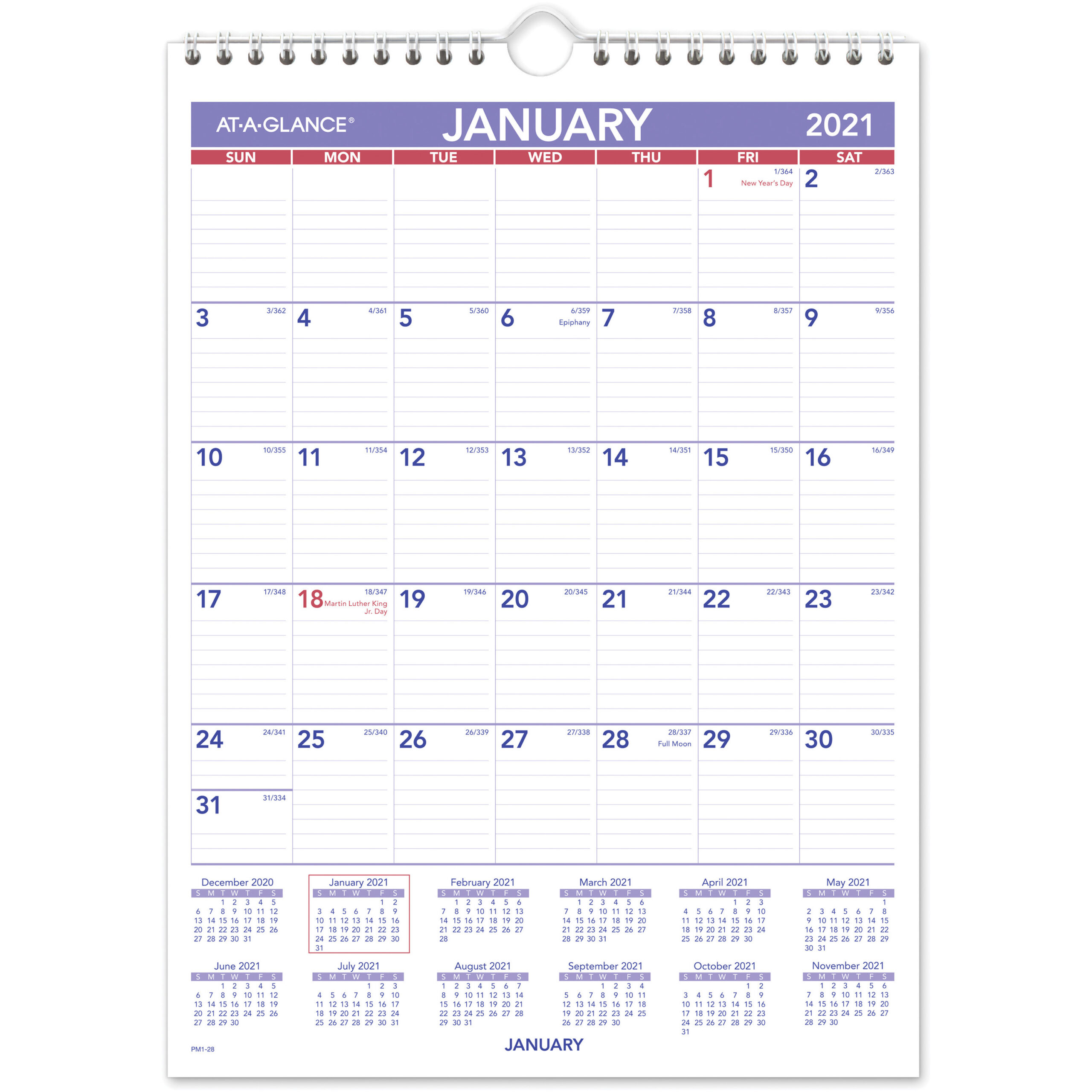"Ataglance Recycled Monthly Wall Calendar  Julian Dates  Monthly  1  Year  January 2021 Till December 2021  1 Month Single Page Layout  8"" X  11"" inside At A Glance Wall Calendar Holder"