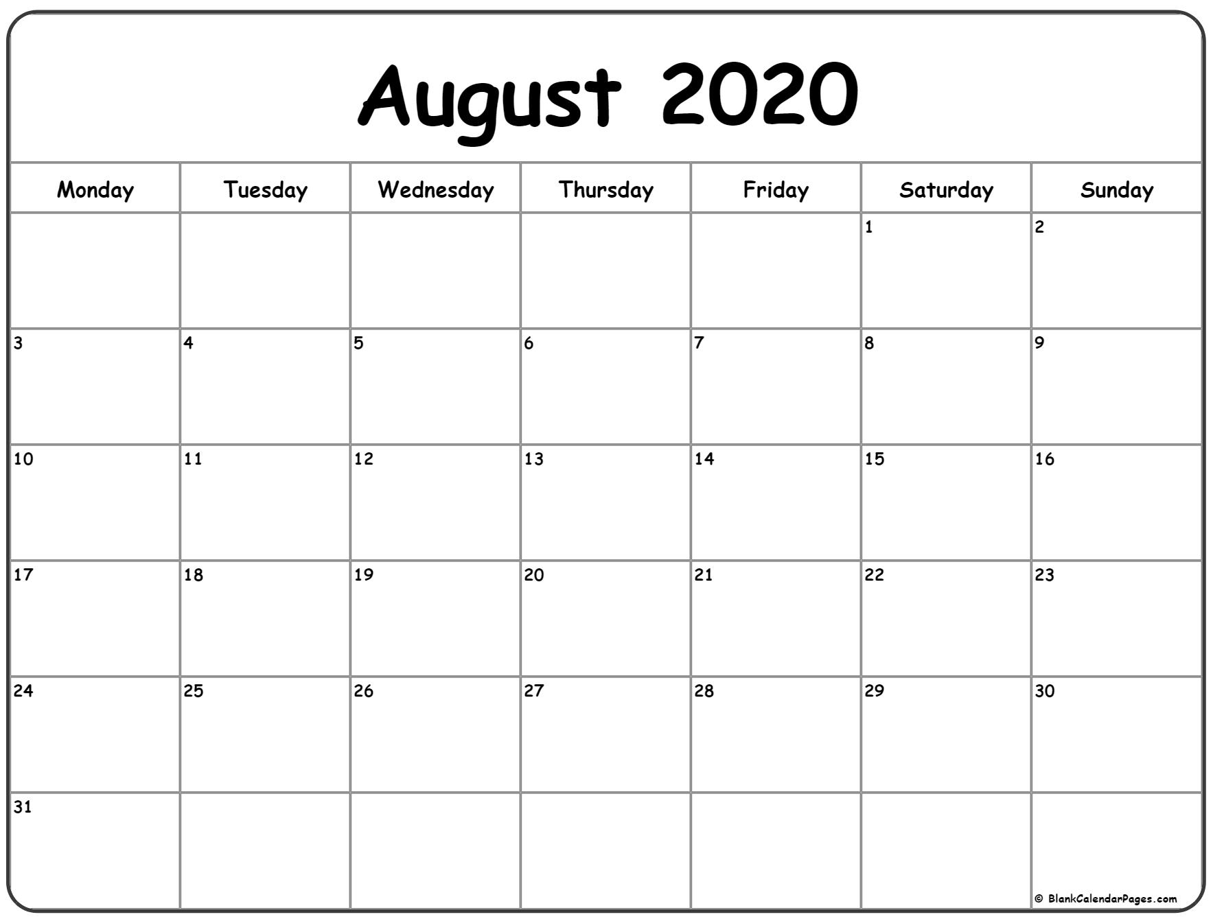 August 2020 Monday Calendar | Monday To Sunday intended for Monday To Friday Calendar