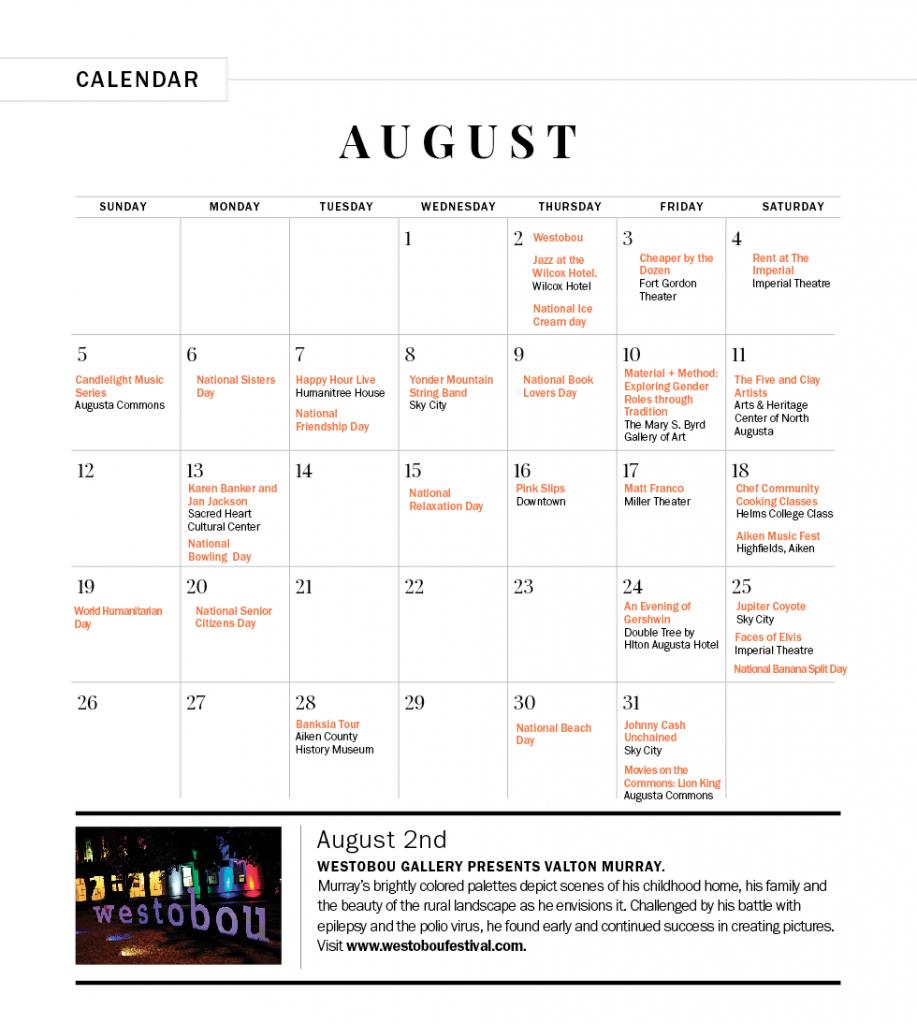 Augustseptember 2018 Calendar Of Events  Augusta Magazine within Augusta County School Calendar
