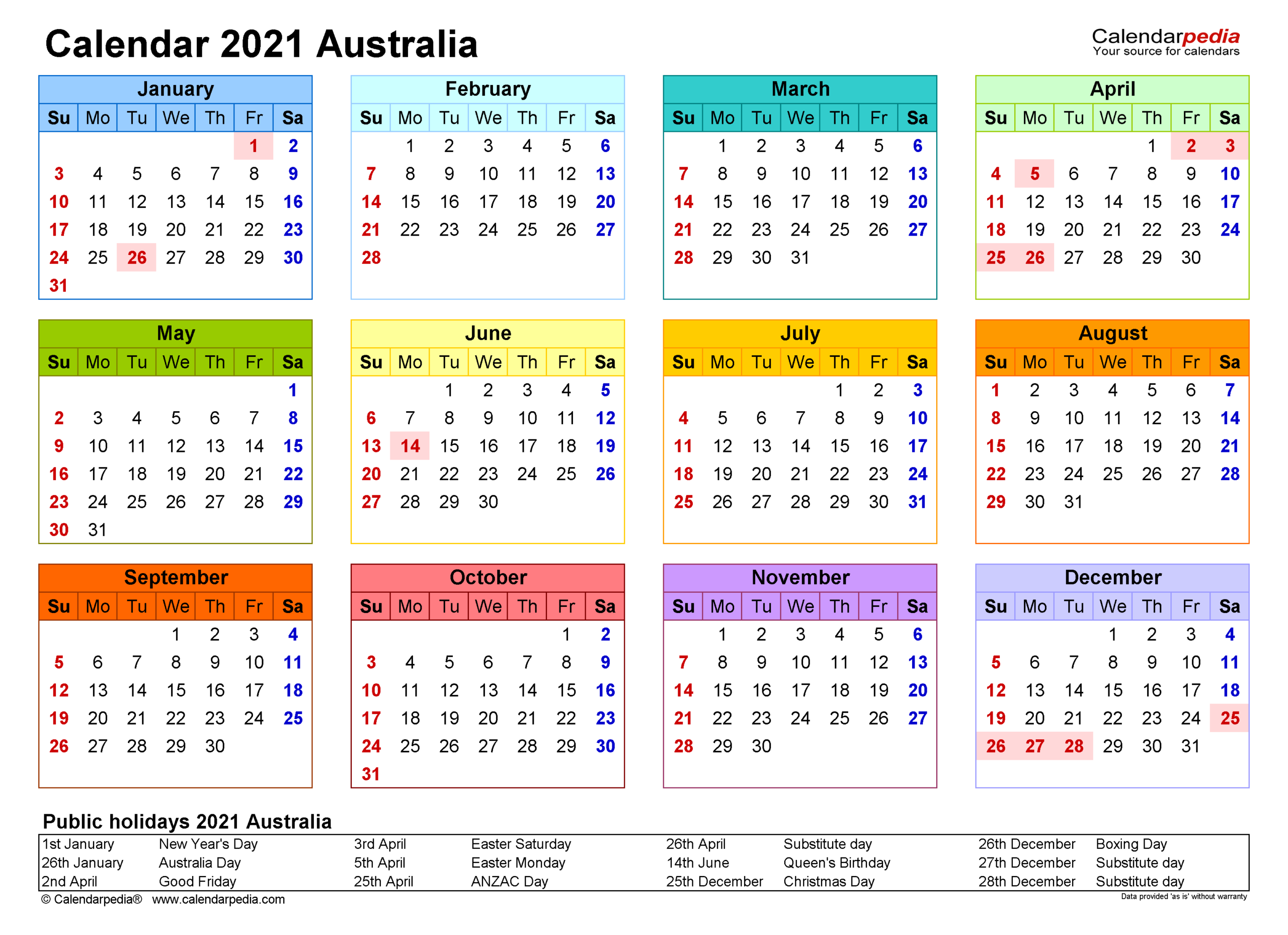 Australia Calendar 2021  Free Printable Pdf Templates with Calendarsquick 5 Day