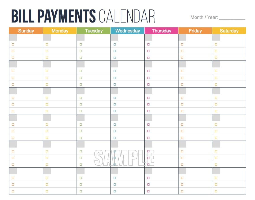Awesome Free Printable Bill Payment Calendar | Free for Free Printable Bill Calendar