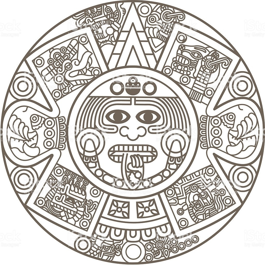 Aztec Calendar Template (Page 1)  Line.17Qq in Aztec Calendar Template