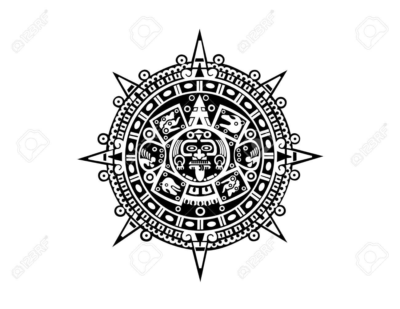Aztec Calendar with Aztec Calendar Template