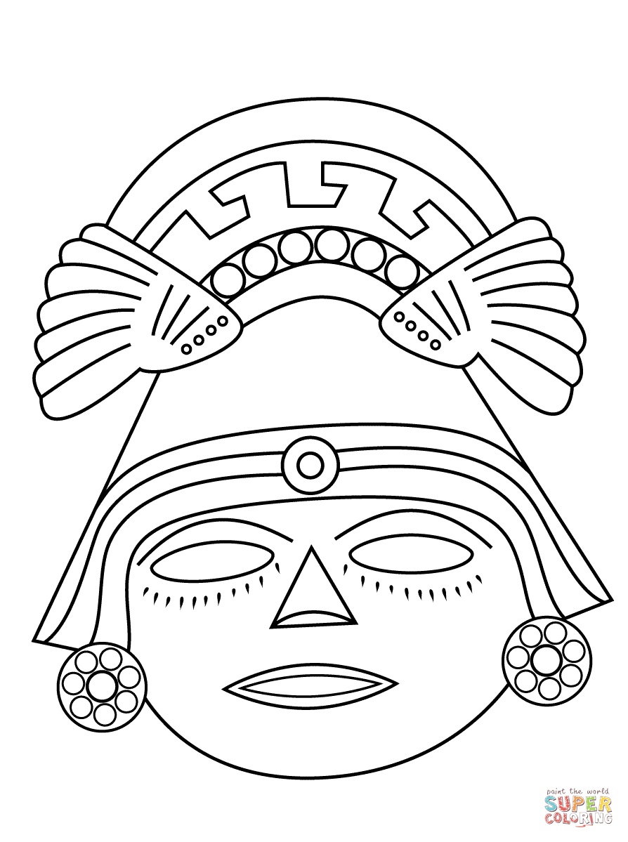 Aztec Mask Coloring Page | Free Printable Coloring Pages for Aztec Mask Template