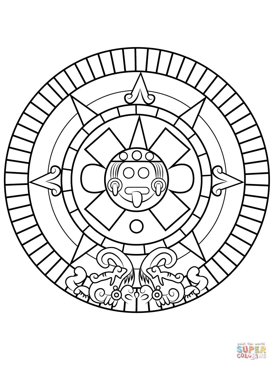 Aztec Sun Stone | Super Coloring | Sun Coloring Pages, Aztec in Aztec Calendar Template