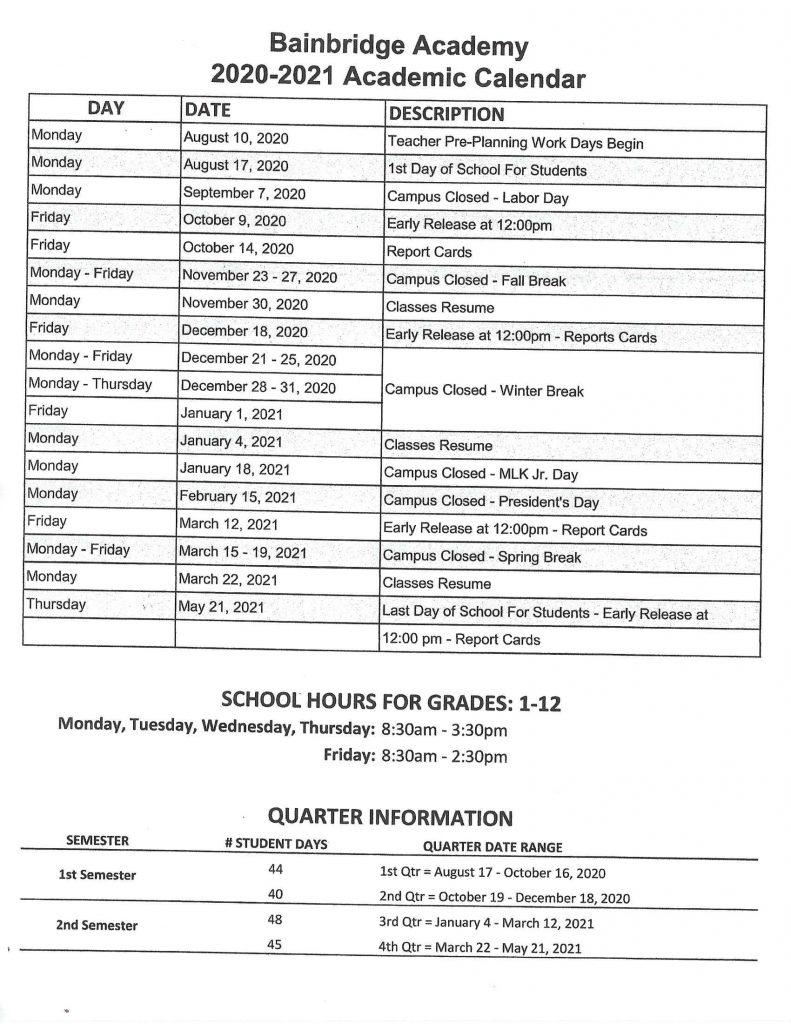 Bainbridge Academy Academic Calendar 20202021 in Stetson Baptist Christian School Calendar