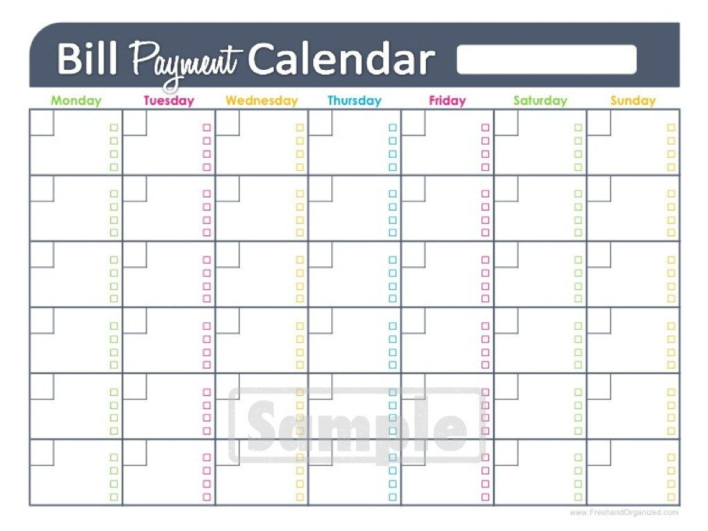 Bill Payment Calendar Editable Personal By Freshandorganized regarding Free Printable Bill Calendar