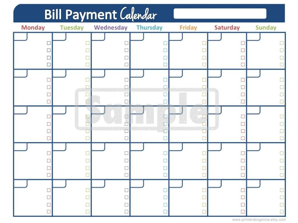 Bill Payment Calendar  Printables For Organizing Your with Monthly Bill Calendar Template