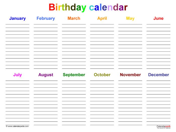 Birthday Calendars  Free Printable Microsoft Word Templates with regard to Microsoft Birthday Calendar Template