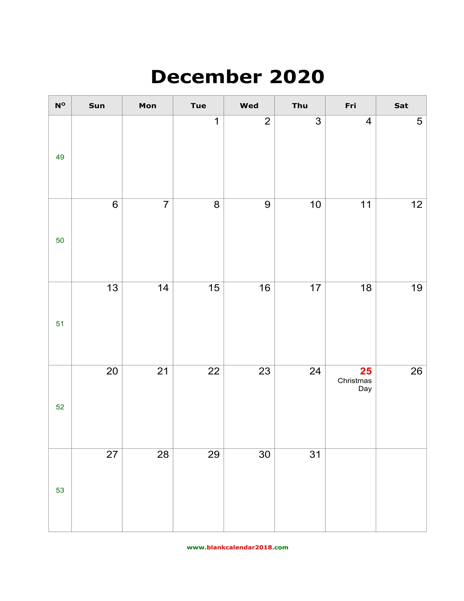 Blank Calendar For December 2020 within 3 Week Blank Calendar