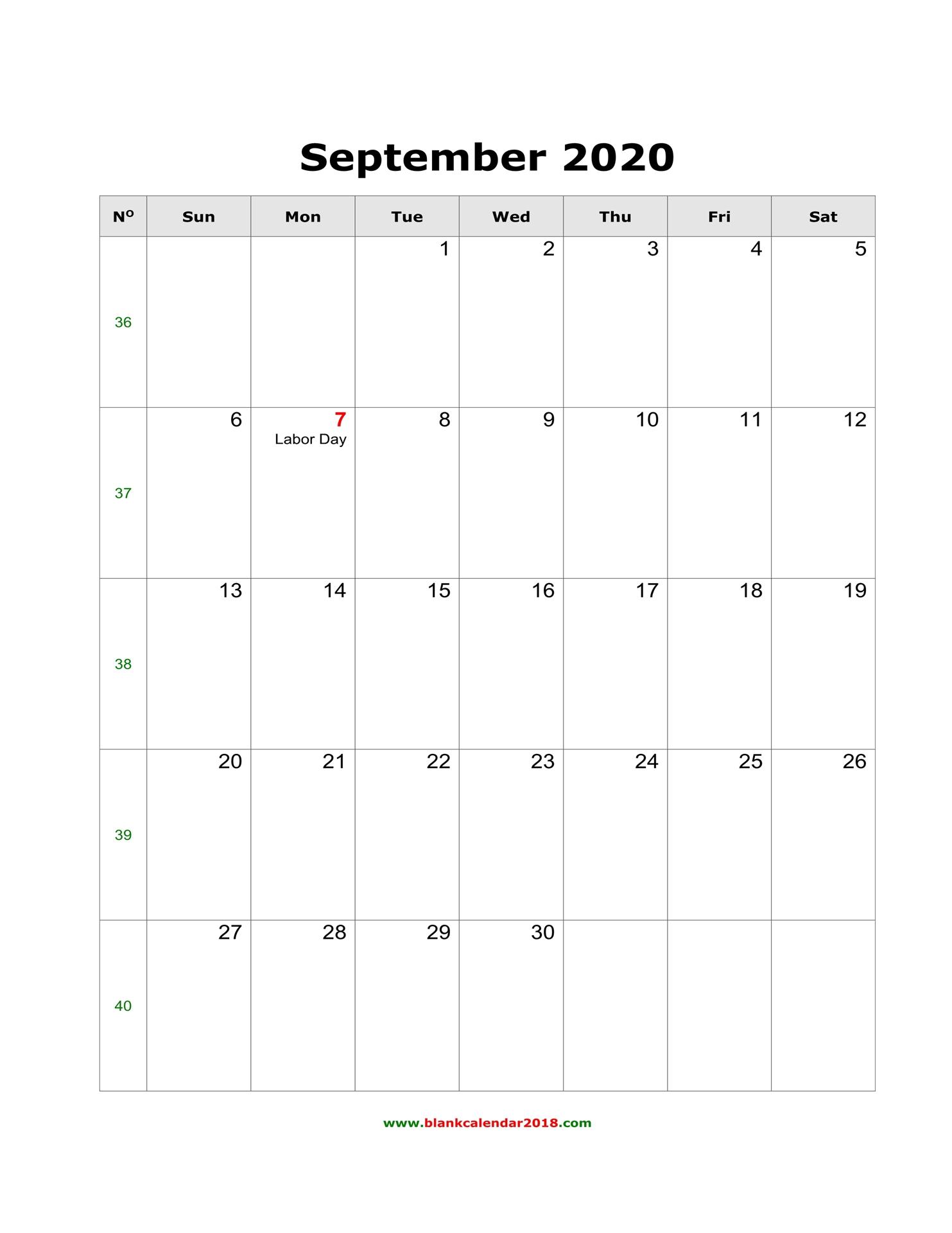 Blank Calendar For September 2020 throughout September Blank Calendar