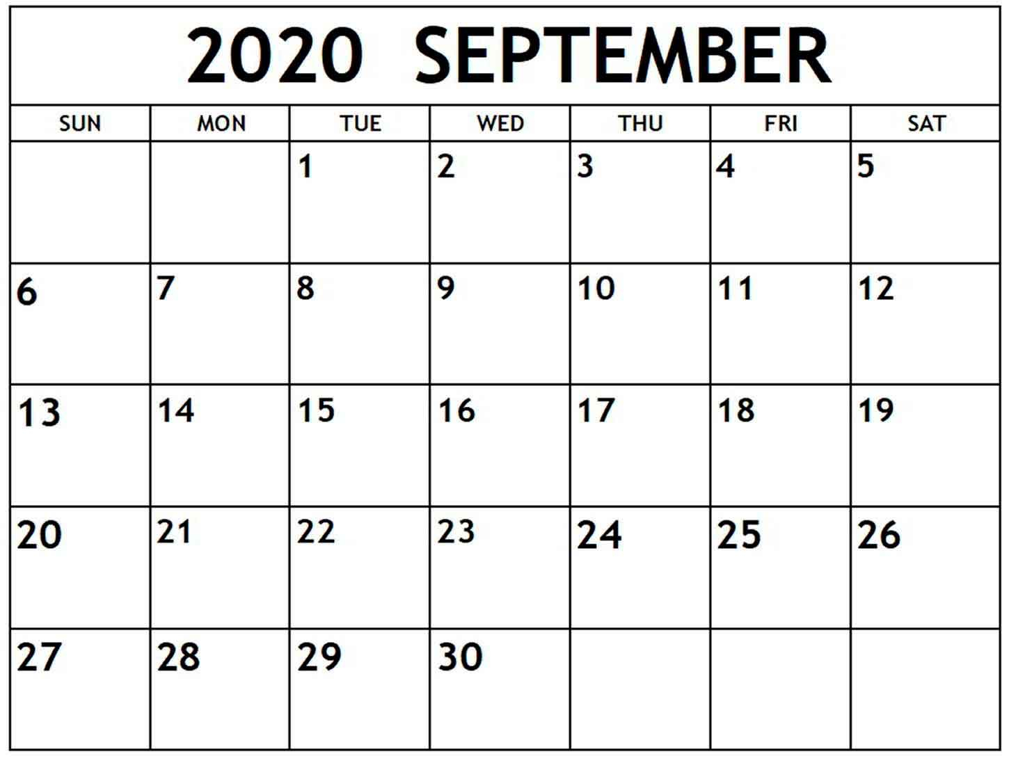 Blank Calendar September 2020 Free Download With Images. with regard to September Blank Calendar