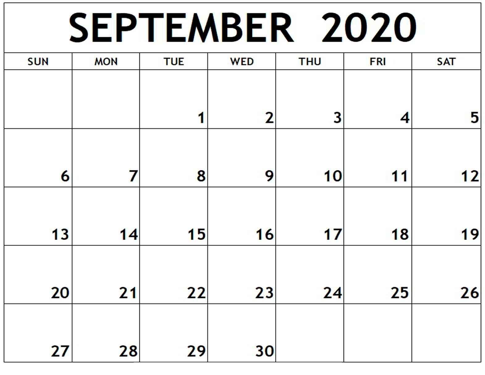 Blank Calendar September 2020  Monthly Calendar Printable intended for September Blank Calendar