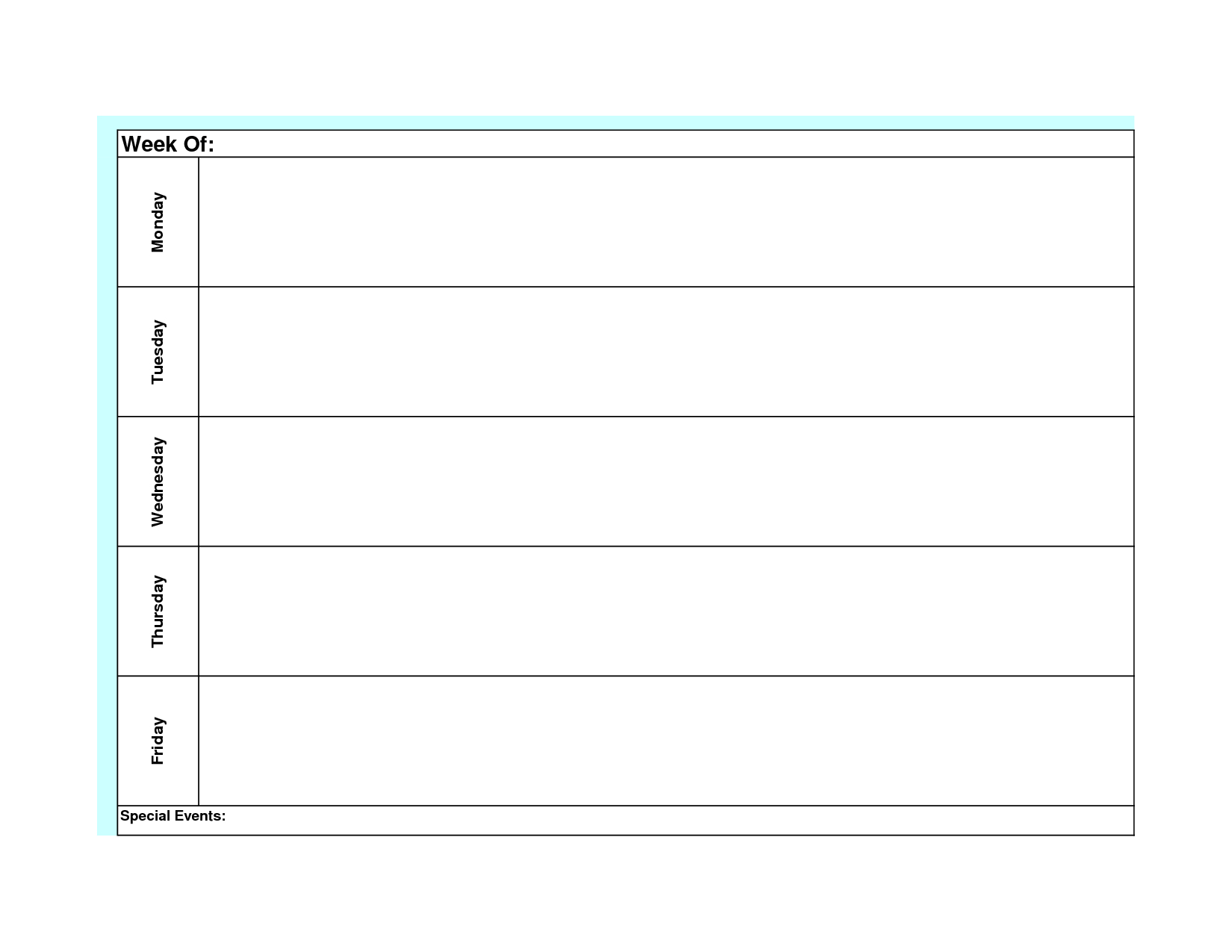 Blank Weekly Calendar Template Monday Friday | Weekly intended for Monday Thru Friday Schedule Template