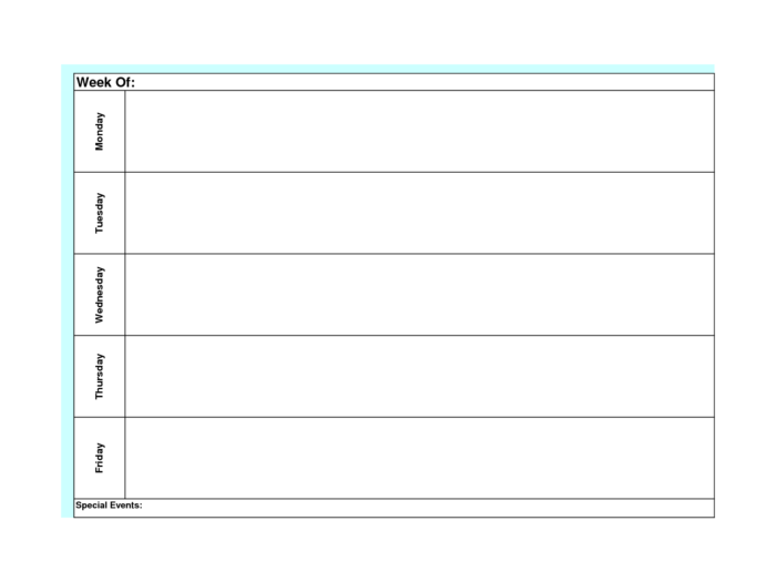 Blank Weekly Calendar Template Monday Friday   Weekly pertaining to Monday Through Friday Weekly Calendar Template