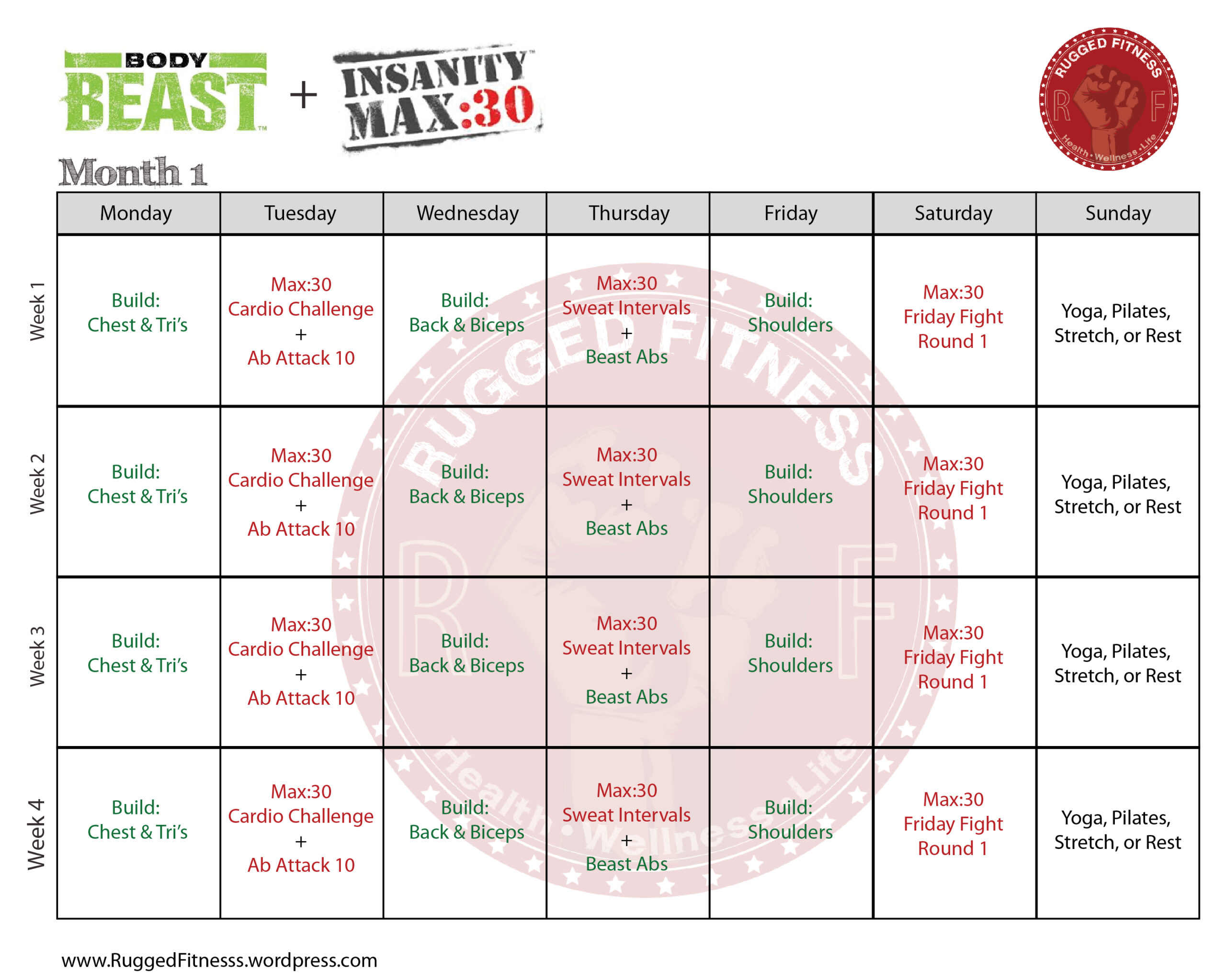 Body Beast + Insanity: Max 30 Hybrid Schedule | Rugged Fitnesss intended for Shaun T Hybrid Calendar