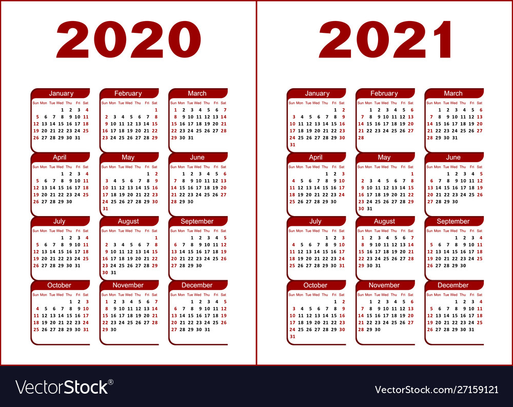 Calendar 2020 2021 Royalty Free Vector Image  Vectorstock with regard to 2021 Calendar Vector Free