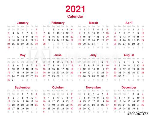 Calendar 2021  12 Months Yearly Vector Calendar In Year with regard to 2021 Calendar Vector Free