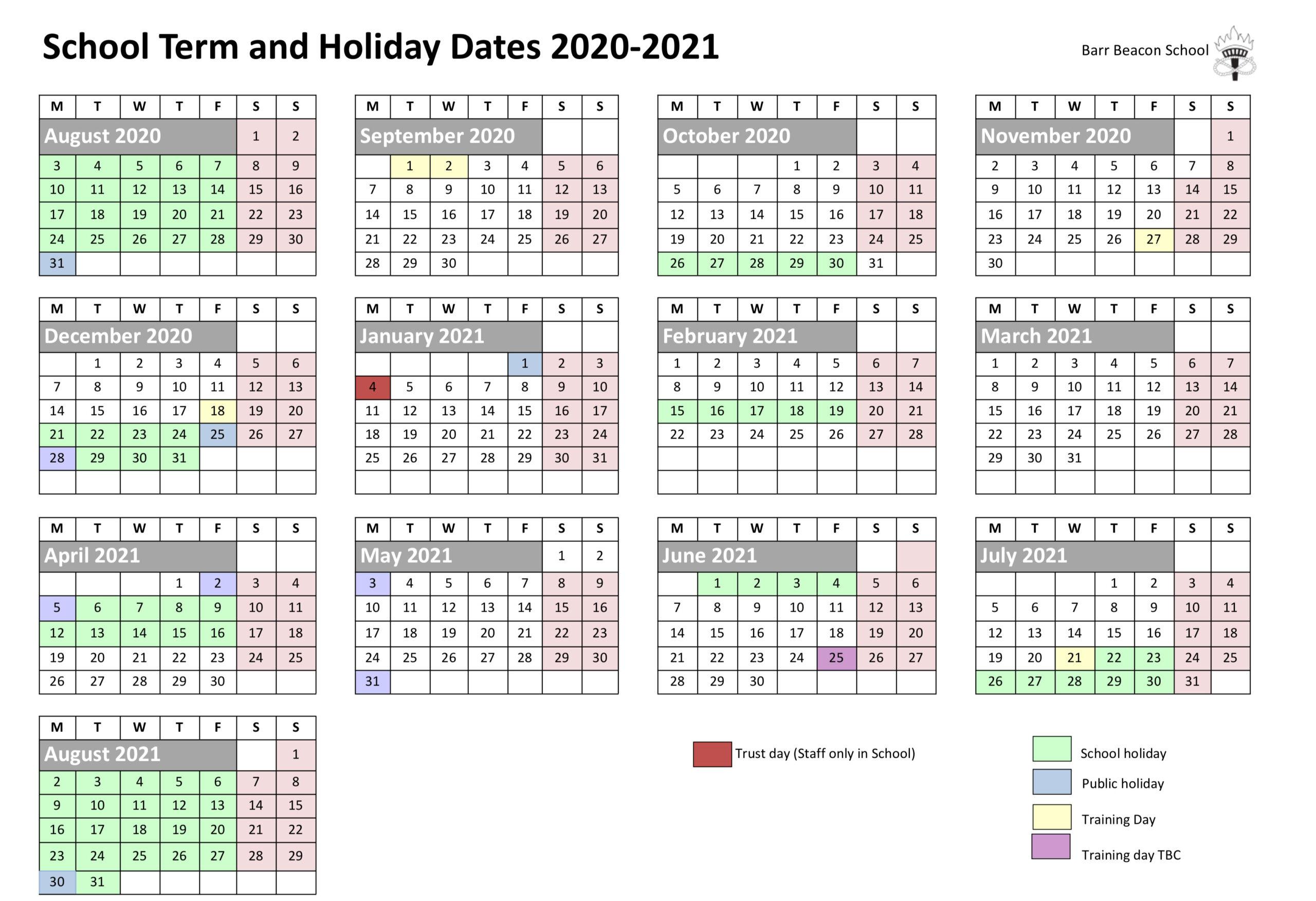 Calendar – Barr Beacon School with regard to Barr Beacon School Calendar