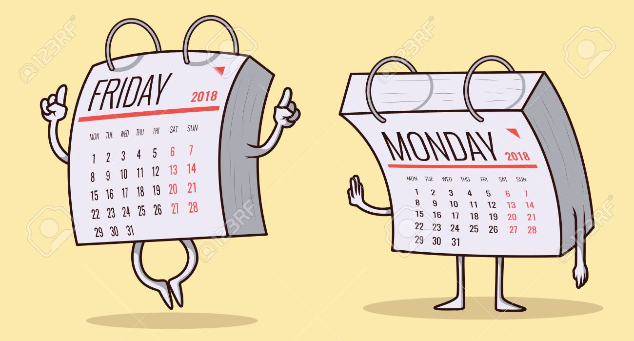 Calendar Characters, Monday And Friday Vector Illustration. Weekend.. with Monday To Friday Calendar