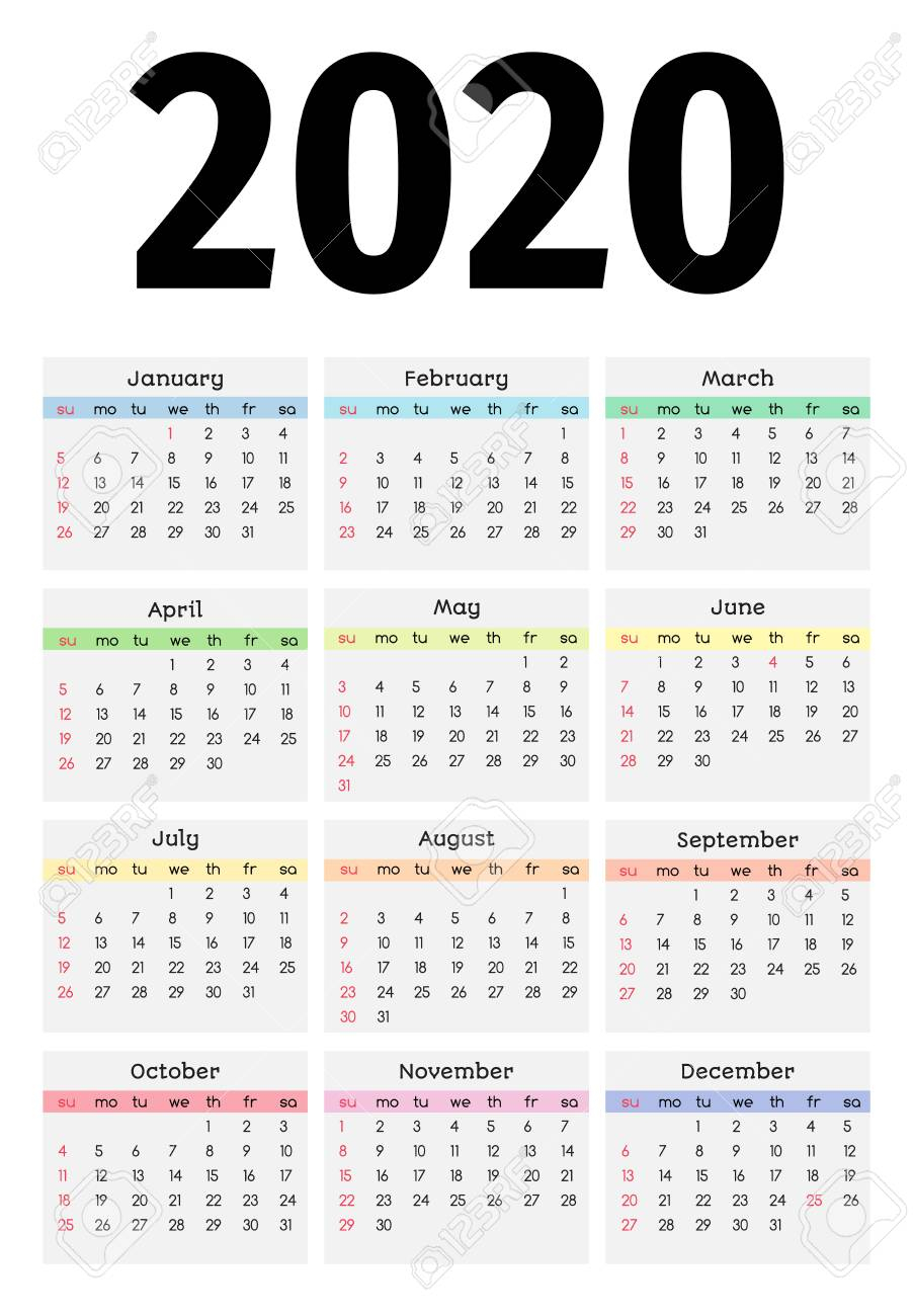 Calendar For 2020 Isolated On A White Background. Sunday To Monday,.. with Monday To Sunday Calendar