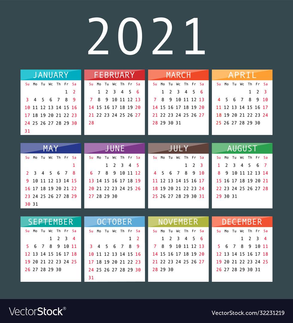 Calendar For 2021 Year Royalty Free Vector Image inside 2021 Calendar Vector Free