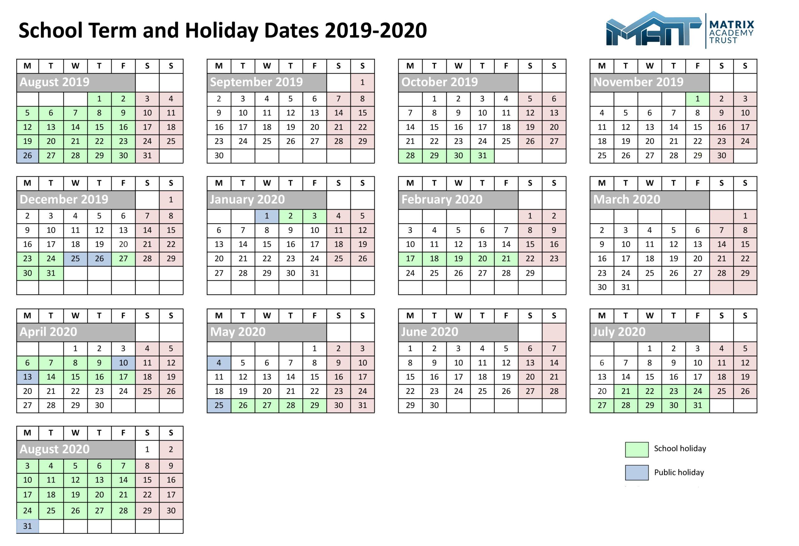 Calendar – Matrix Academy Trust intended for Barr Beacon School Calendar