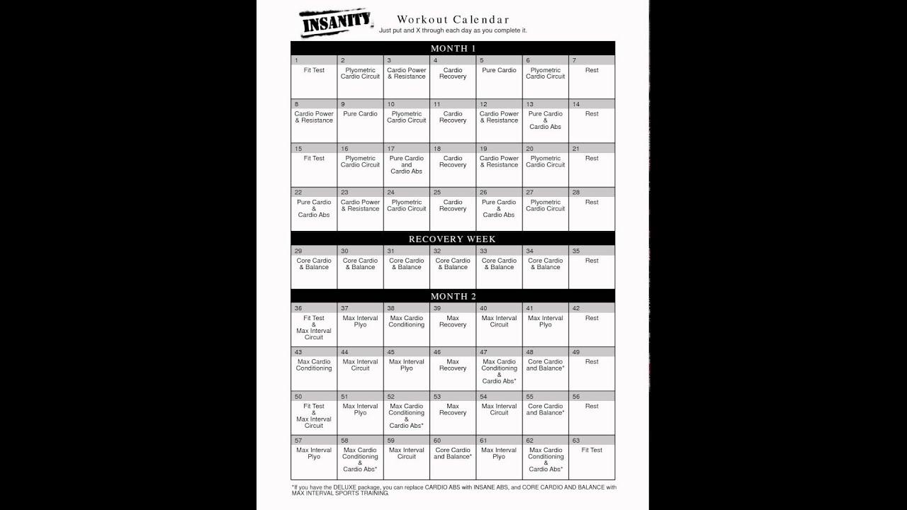 Calendario De Entrenamiento ''Insanity''  Youtube for Calendario Insanity Max 30