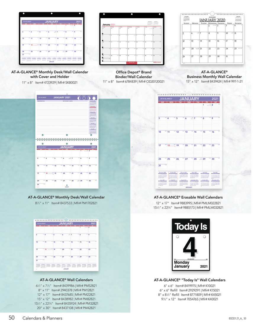 Calendars & Planners 2021  Page 56 pertaining to At A Glance Wall Calendar Holder