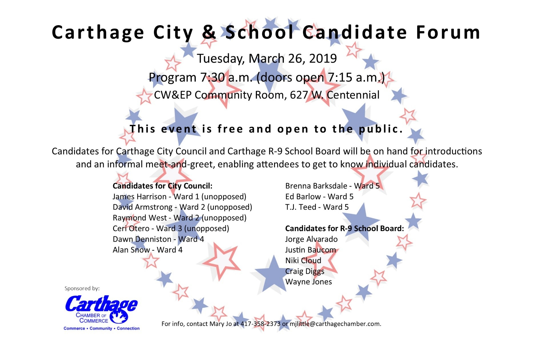 Carthage Chamber Organizes Candidate Forum For School, City inside Carthage Mo School Calendar