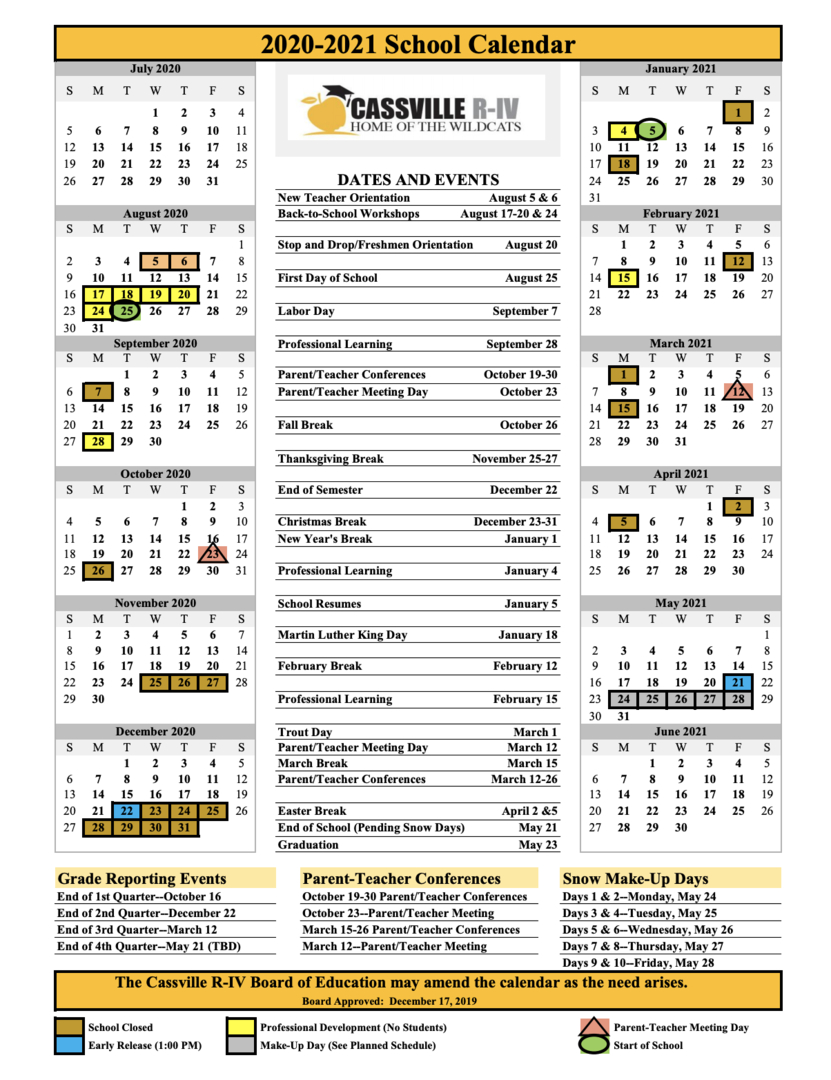 Cassville Riv School District  District Calendar throughout Carthage Mo School Calendar