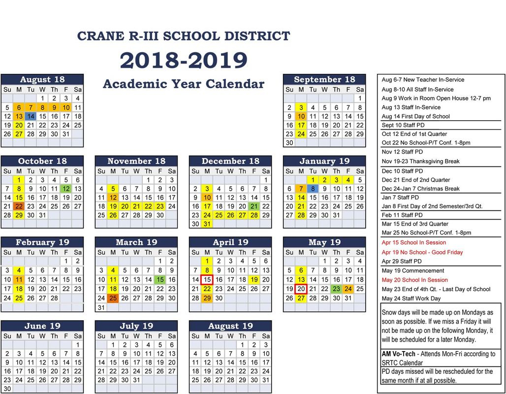 Crane 20182019 School Calendar  Ccscr News intended for Carthage Mo School Calendar