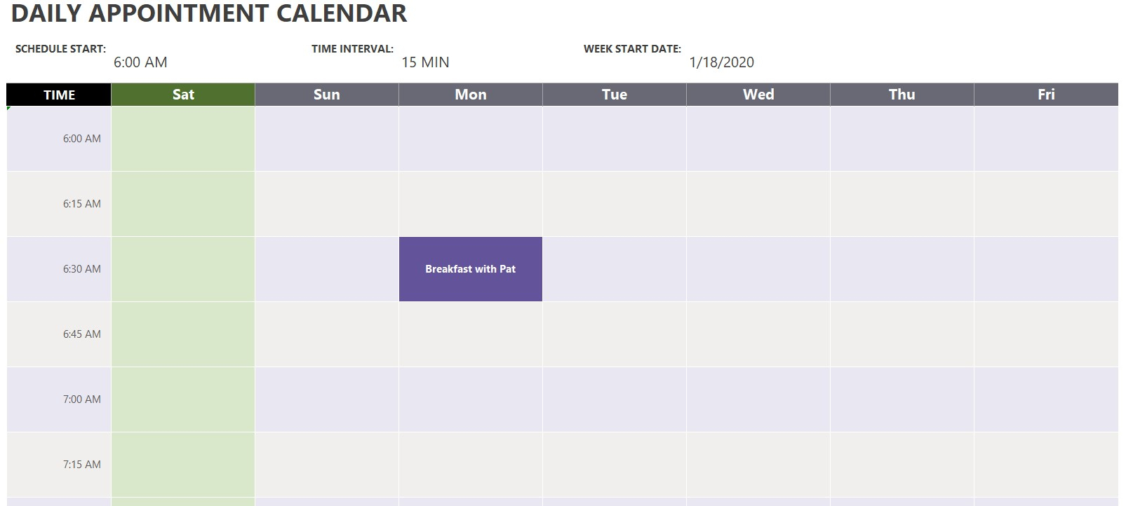 Daily Appointment Calendar Template | Excel Templates in Free Printable Daily Calendar With Time Slots