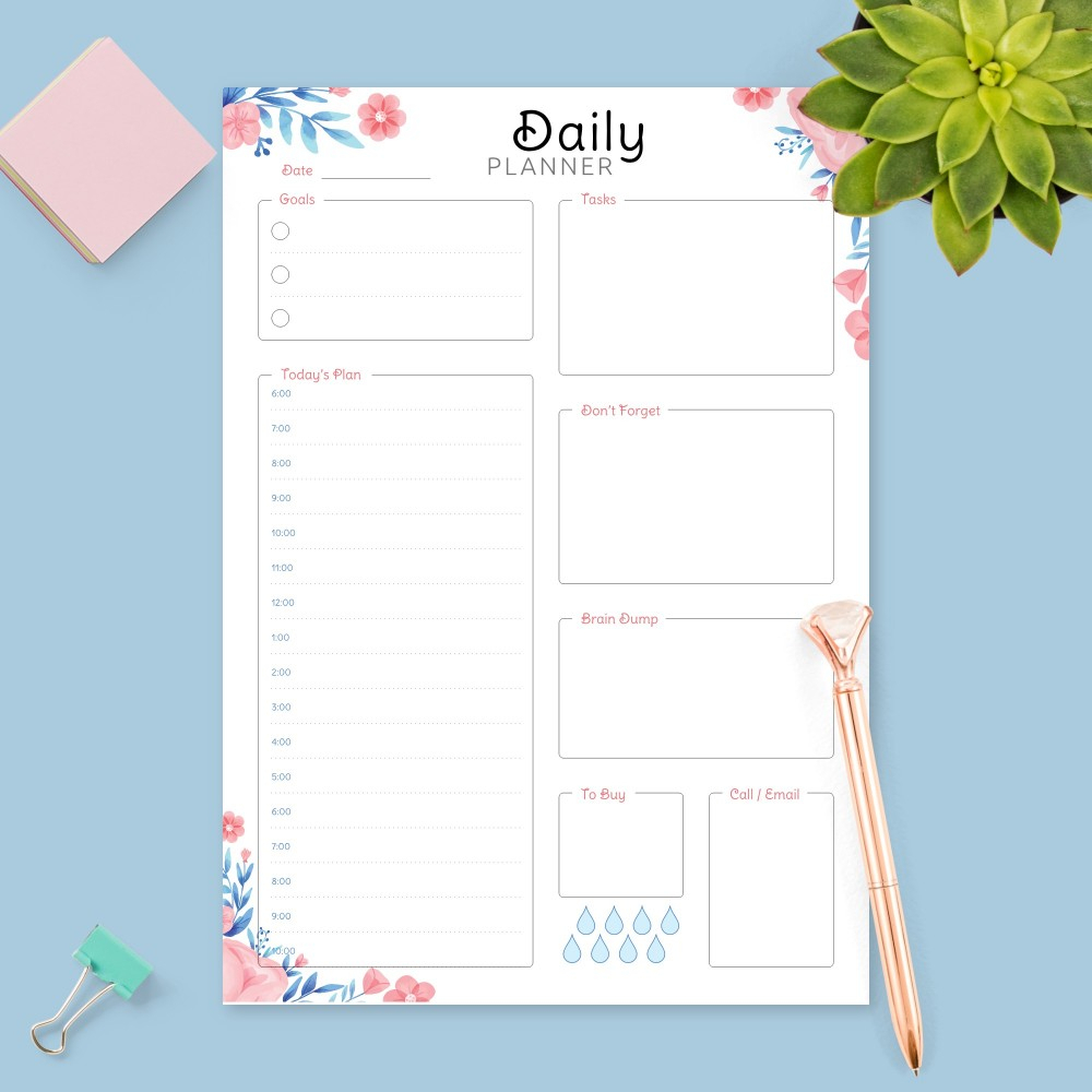Daily Hourly Planner Templates  Download Pdf throughout Free Printable Hourly Calendar