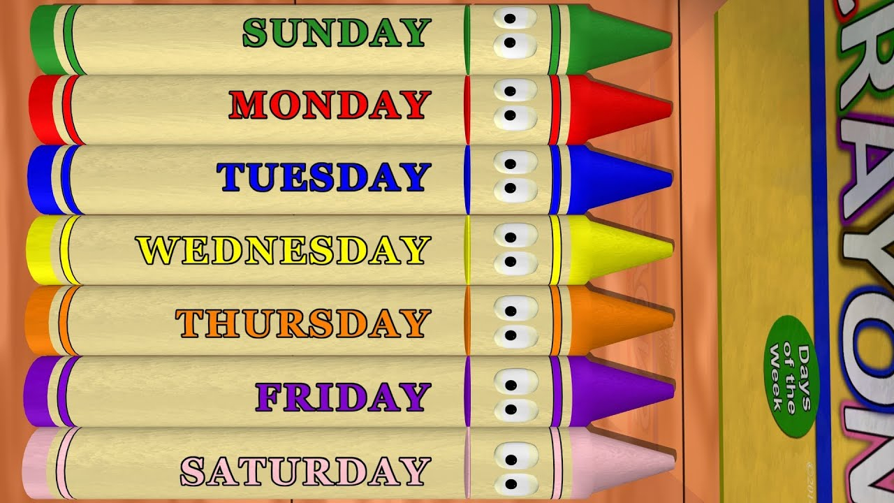 Days Of The Week: Sunday To Saturday With Calendar Crayons with Monday To Sunday Calendar