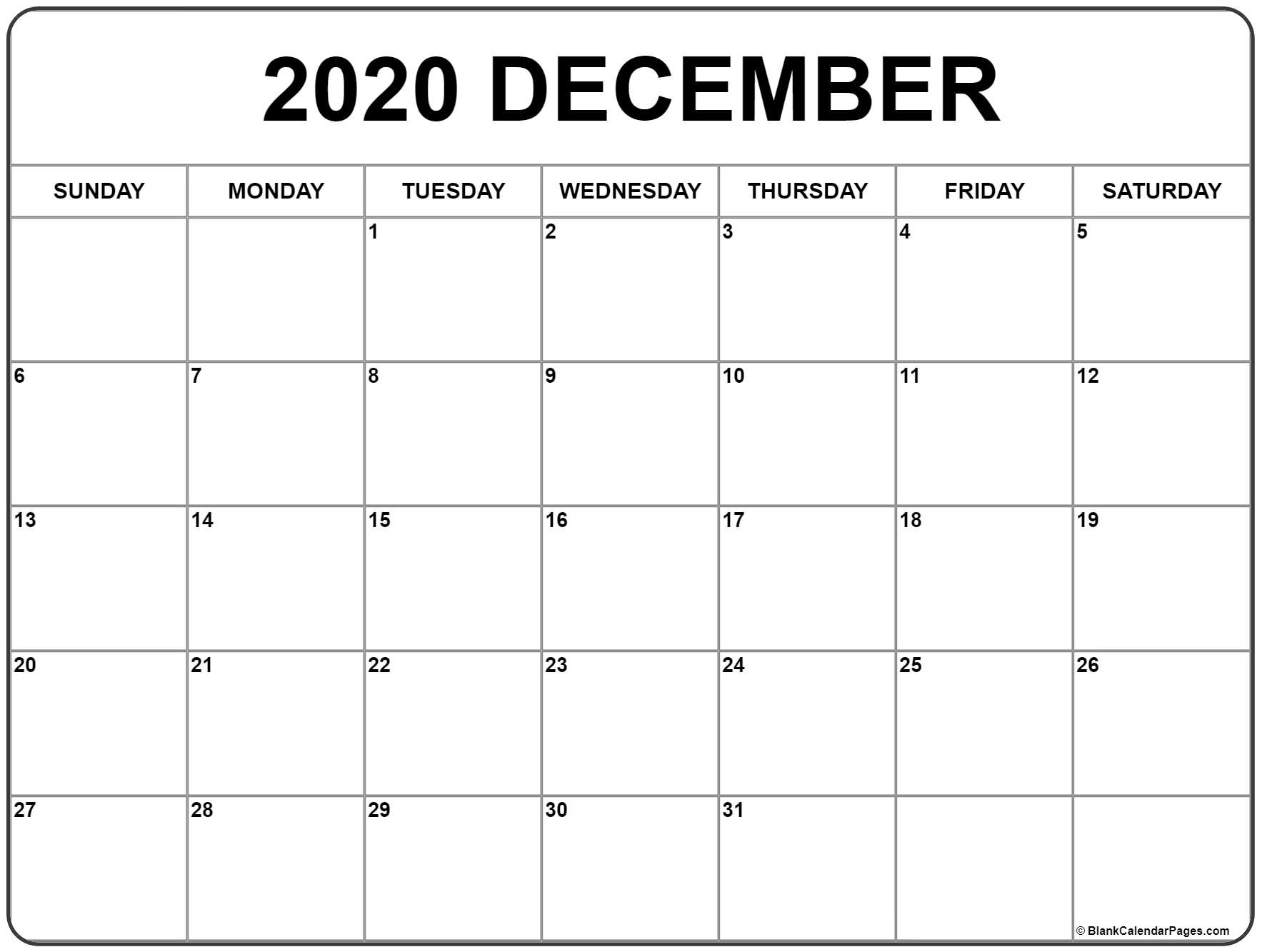 December 2020 Calendar | Free Printable Monthly Calendars with regard to Free Printable Bill Calendar