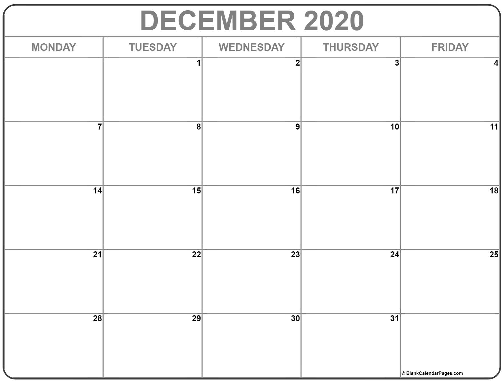 December 2020 Monday Calendar | Monday To Sunday for Saturday Through Friday Calendar