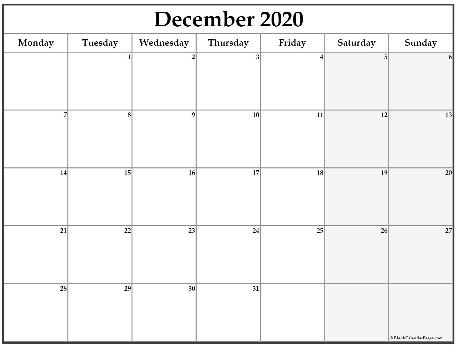 December 2020 Monday Calendar | Monday To Sunday inside Monday Through Saturday Calendar