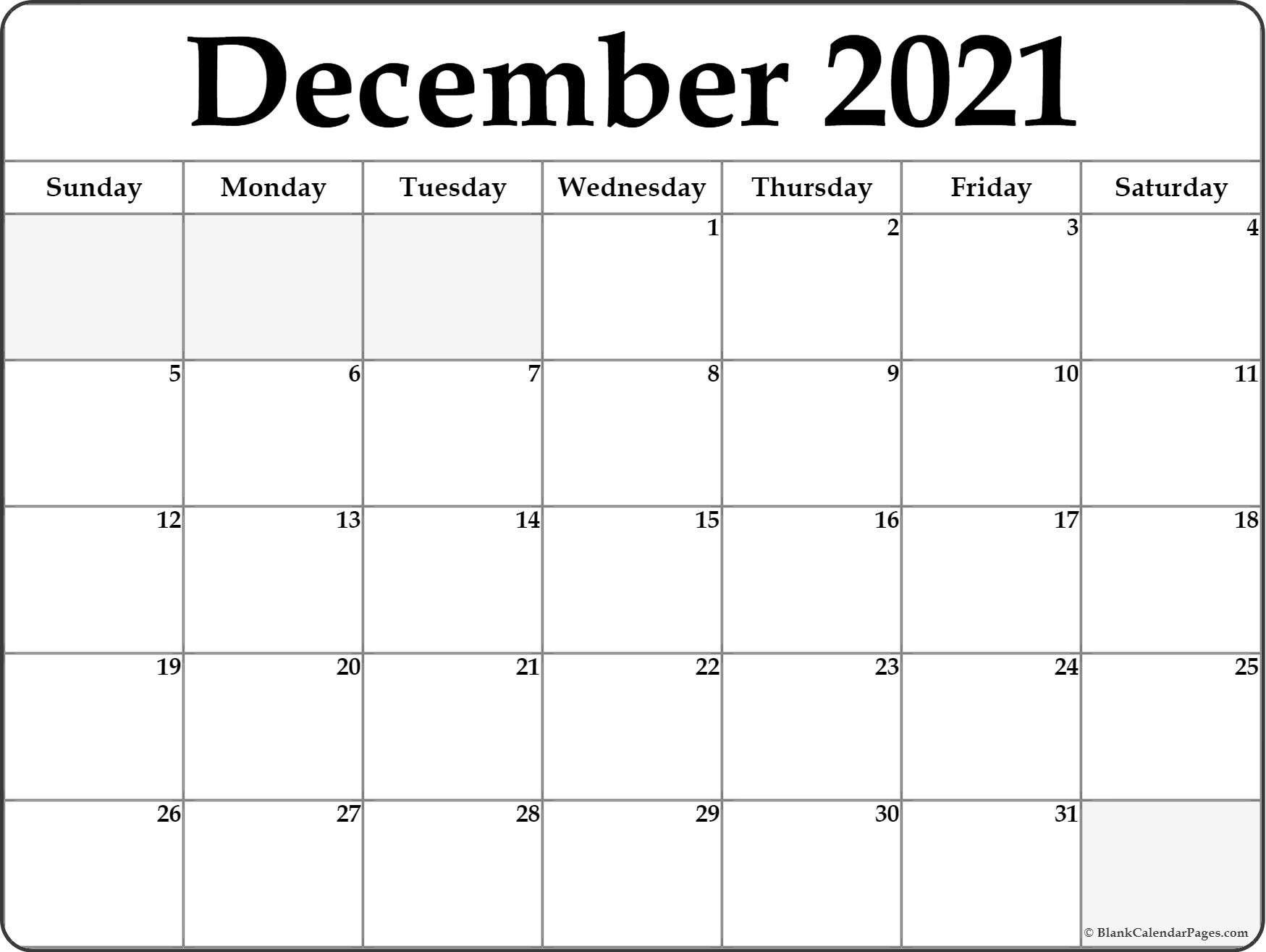 December 2021 Blank Calendar Templates December 2021 Blank in Empty Calendar Printable