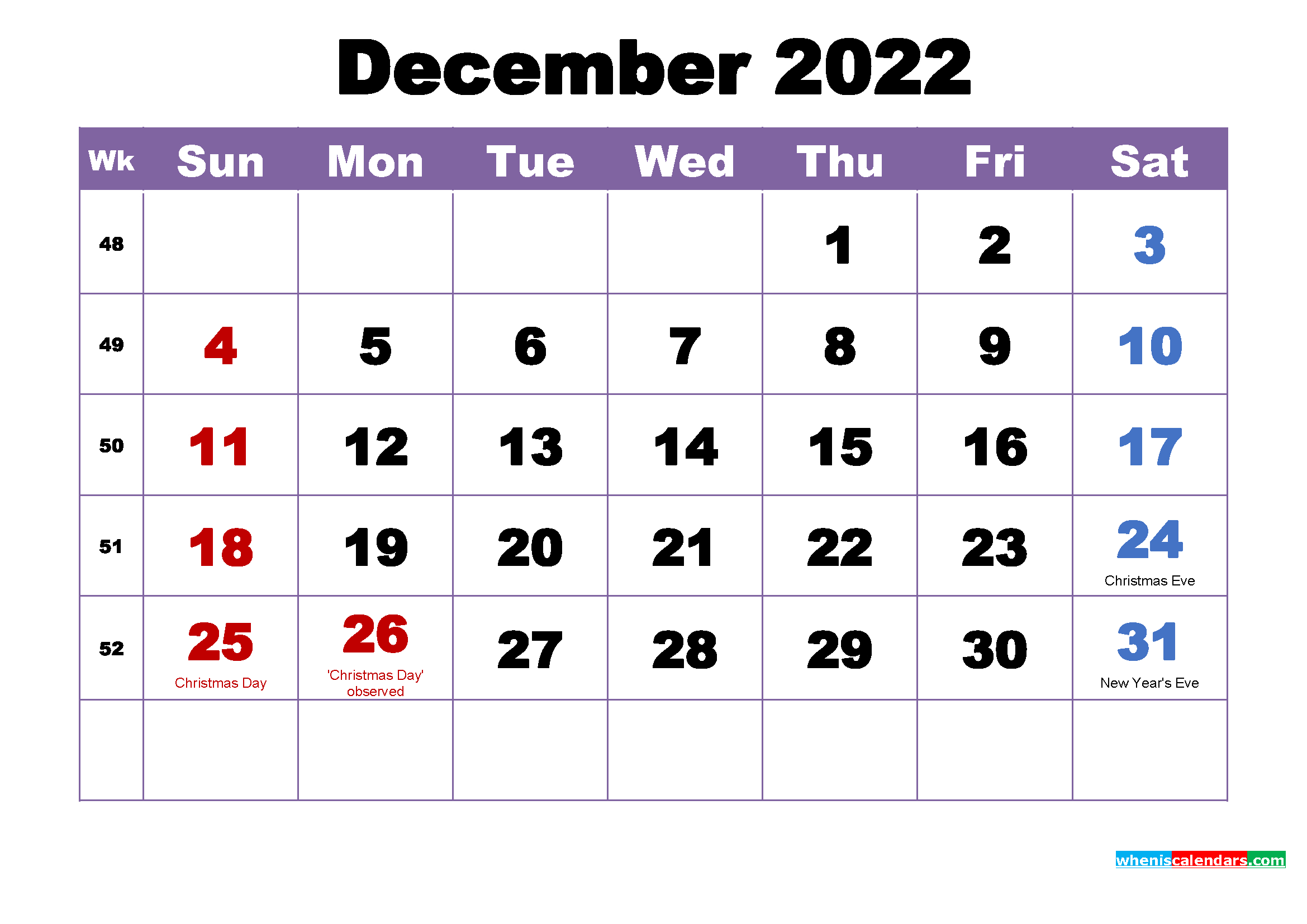 December 2022 Calendar With Holidays Printable – Free 2020 with regard to Free Printable 5 Day Monthly Calendar